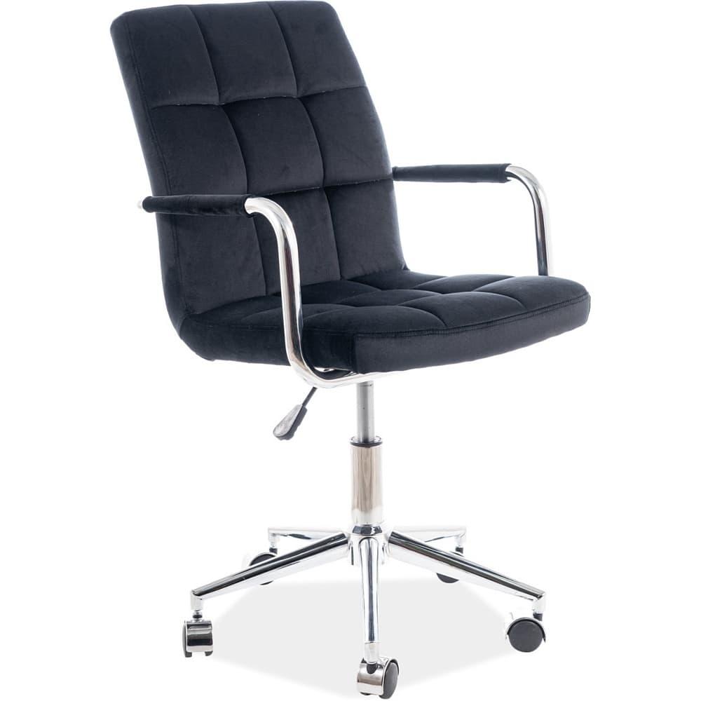 Scaun de birou ergonomic tapitat cu stofa Q-022 Velvet Negru, l51xA40xH87-97 cm