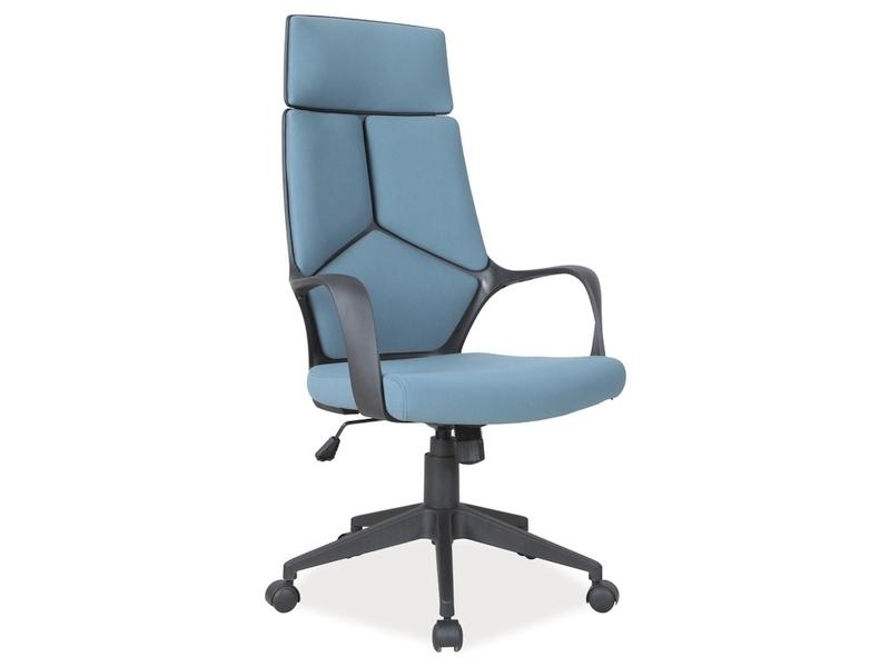 Scaun de birou ergonomic tapitat cu stofa Q-199 Albastru / Negru, l63xA46xH114-124 cm