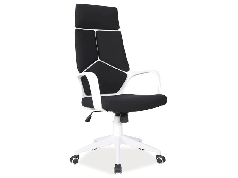 Scaun de birou ergonomic tapitat cu stofa Q-199 Negru / Alb, l63xA46xH114-124 cm