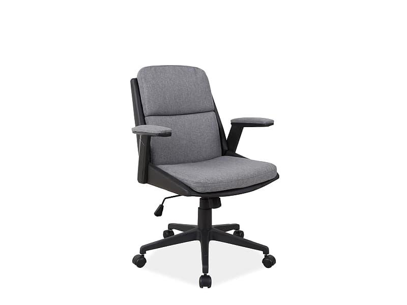 Scaun de birou ergonomic tapitat cu stofa si piele ecologica Q-332 Gri / Negru, l64xA48xH93-103 cm poza