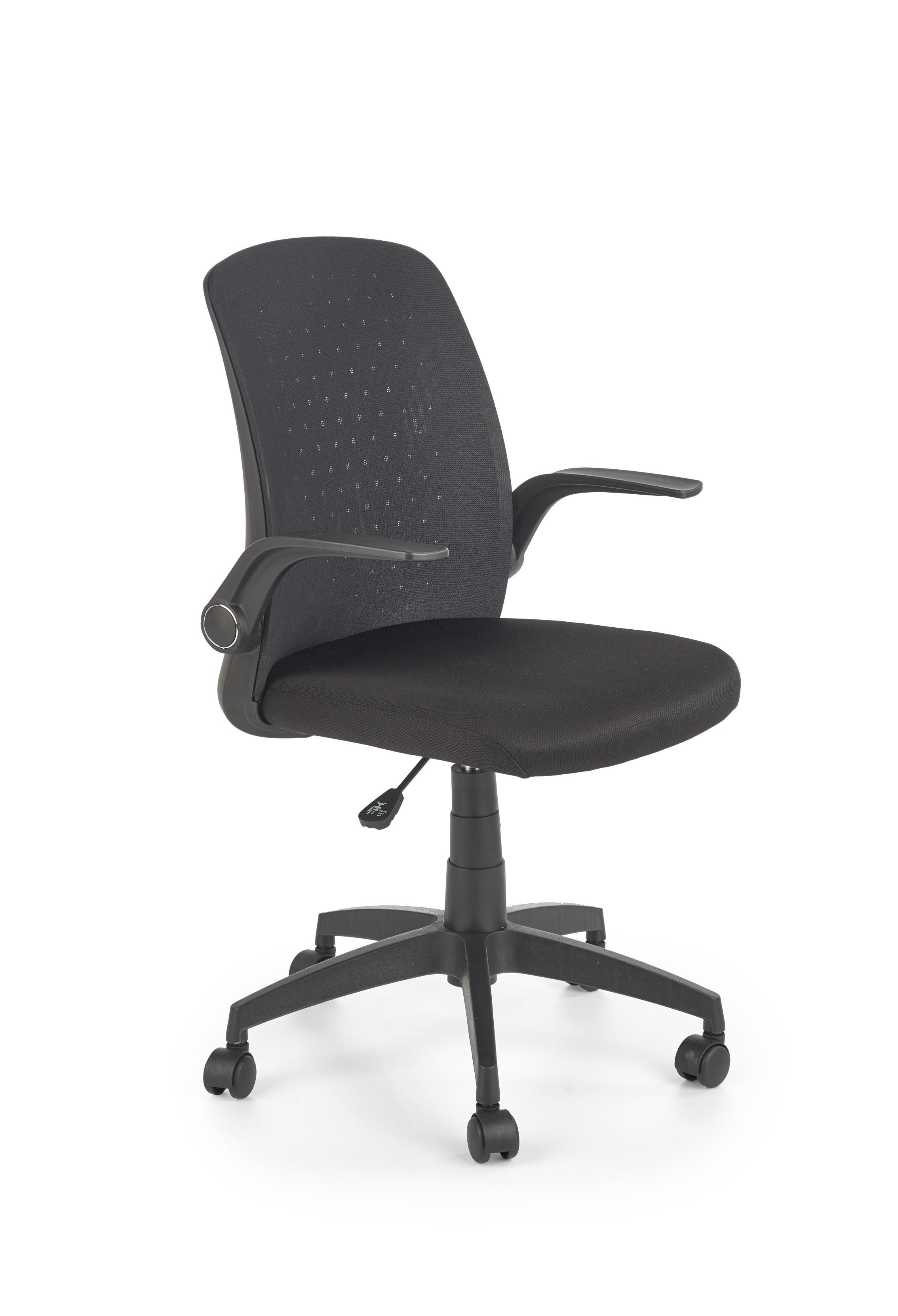 Scaun de birou ergonomic tapitat cu stofa Secret Negru, l55xA57xH86-94 cm