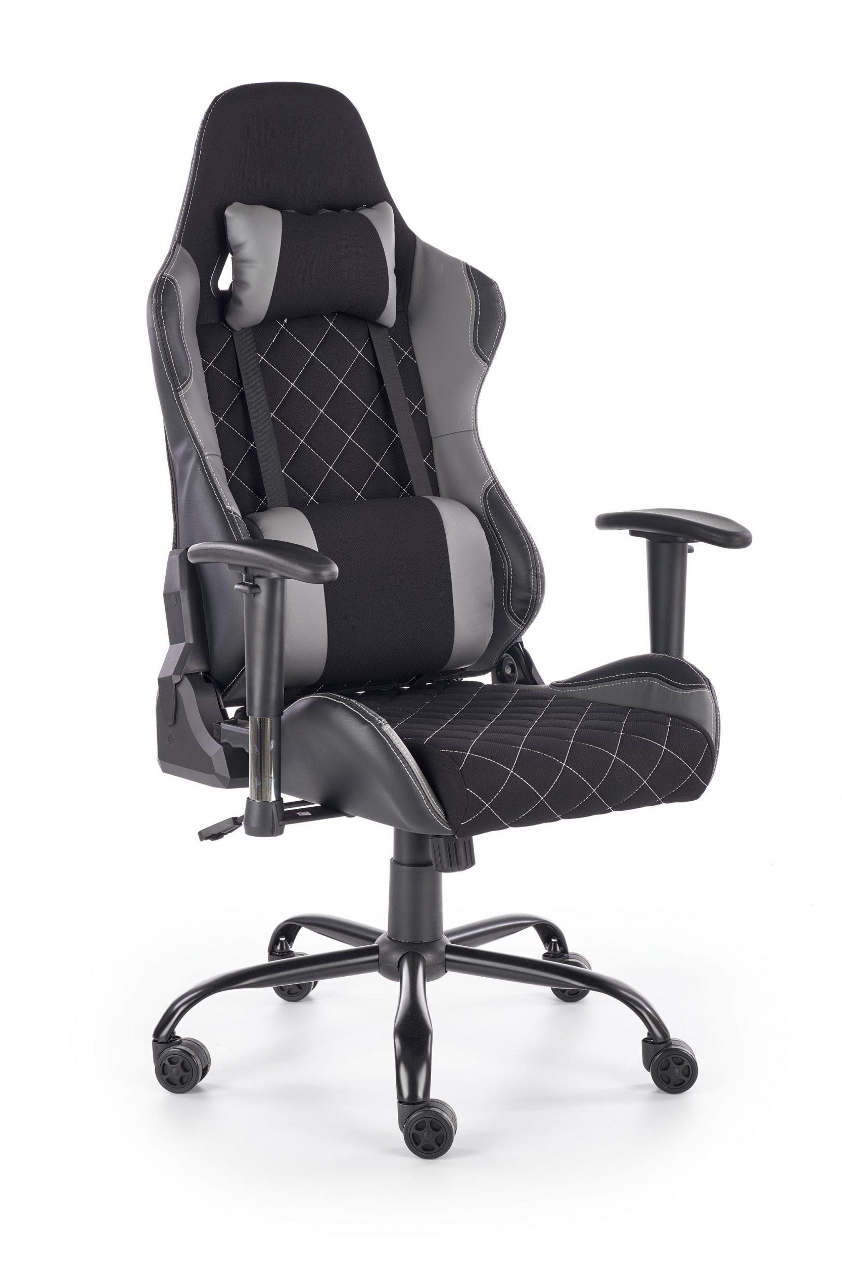 Scaun de birou ergonomic tapitat cu stofa si piele ecologica Drake Negru / Gri l69xA62xH127-134 cm