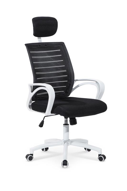 Scaun de birou ergonomic, tapitat cu stofa Socket Black / White, l61xA68xH110-118 cm