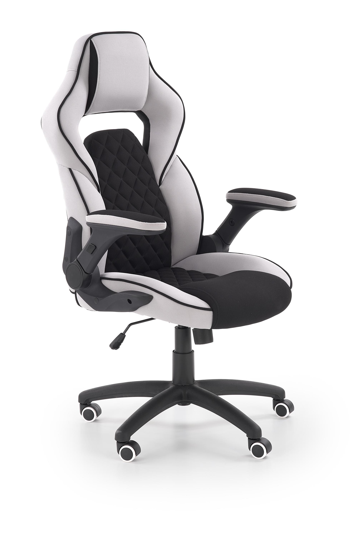 Scaun de birou ergonomic tapitat cu stofa Sonic Negru / Gri deschis l68xA70xH115-124 cm