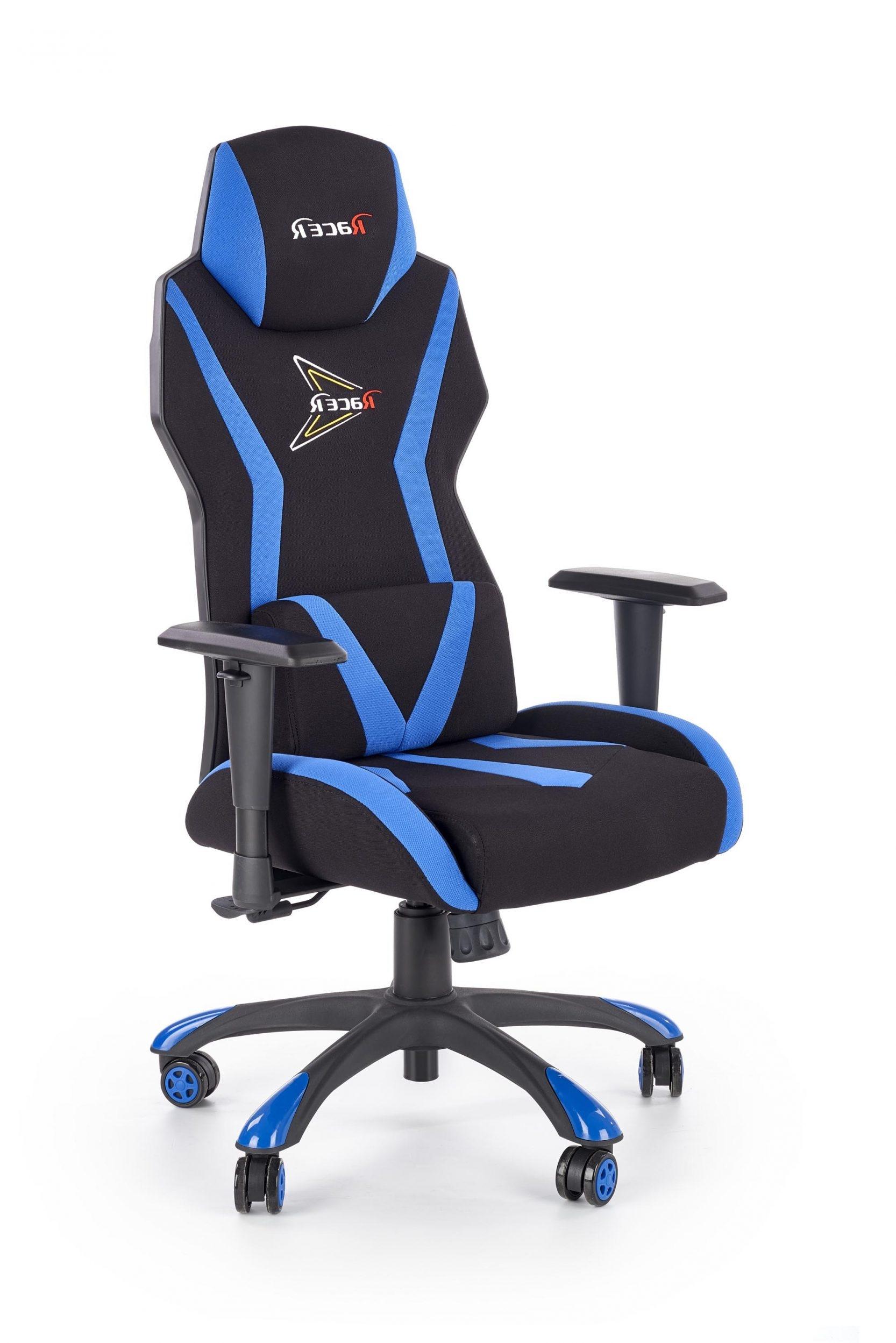 Scaun de birou ergonomic tapitat cu stofa Stig Negru / Albastru l69xA60xH119-128 cm