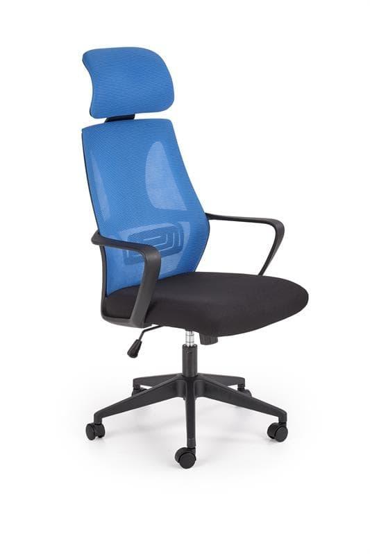 Scaun de birou ergonomic tapitat cu stofa Valdez Albastru / Negru, l64xA60xH116-122 cm poza
