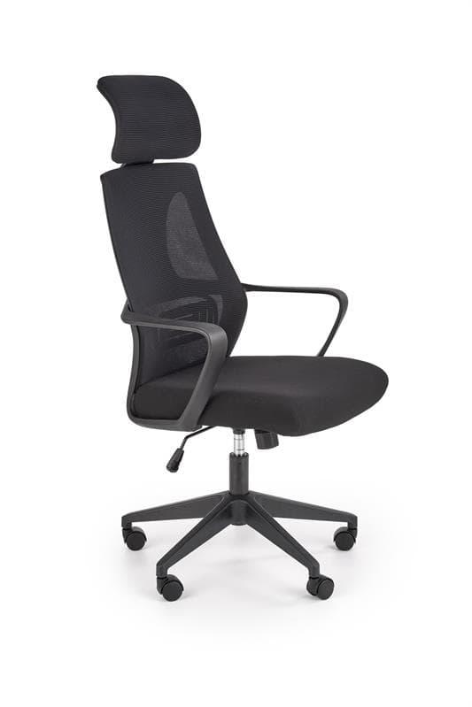 Scaun de birou ergonomic tapitat cu stofa Valdez Negru, l64xA60xH116-122 cm poza