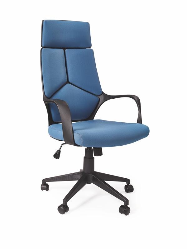 Scaun de birou ergonomic tapitat cu stofa Voyager Albastru / Negru, l64xA61xH115-125 cm
