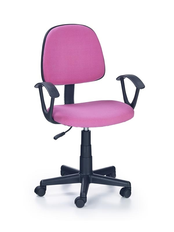 Scaun de birou pentru copii, tapitat cu stofa Darian Bis Pink, l56xA53xH84-95 cm somproduct.ro