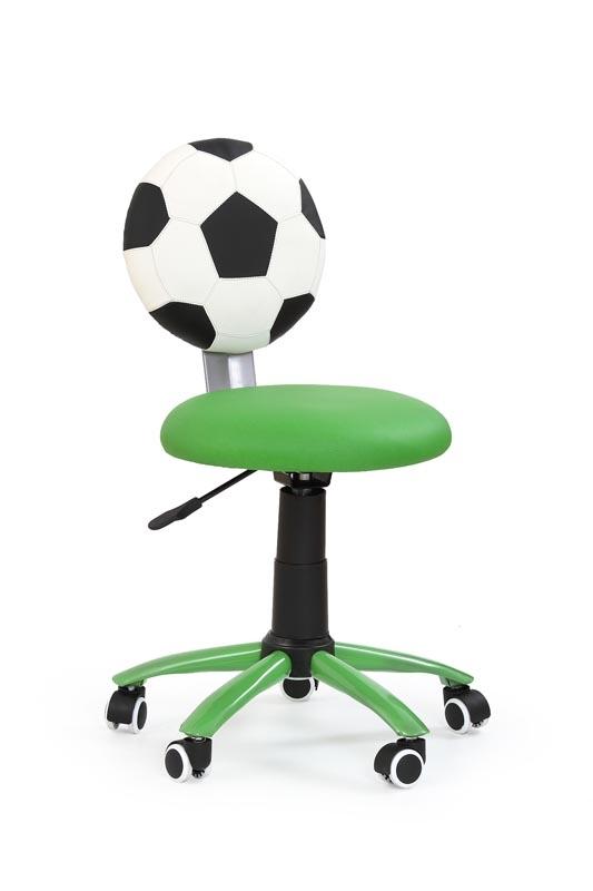 Scaun de birou pentru copii, tapitat cu piele ecologica Gol Green, l39xA52xH75-85 cm