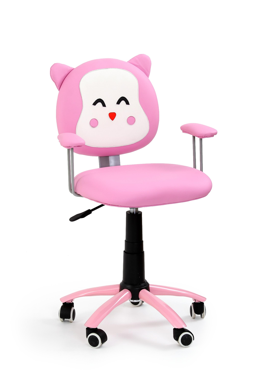 Scaun de birou pentru copii, tapitat cu piele ecologica Kara Roz, l54xA49xH76-86 cm imagine