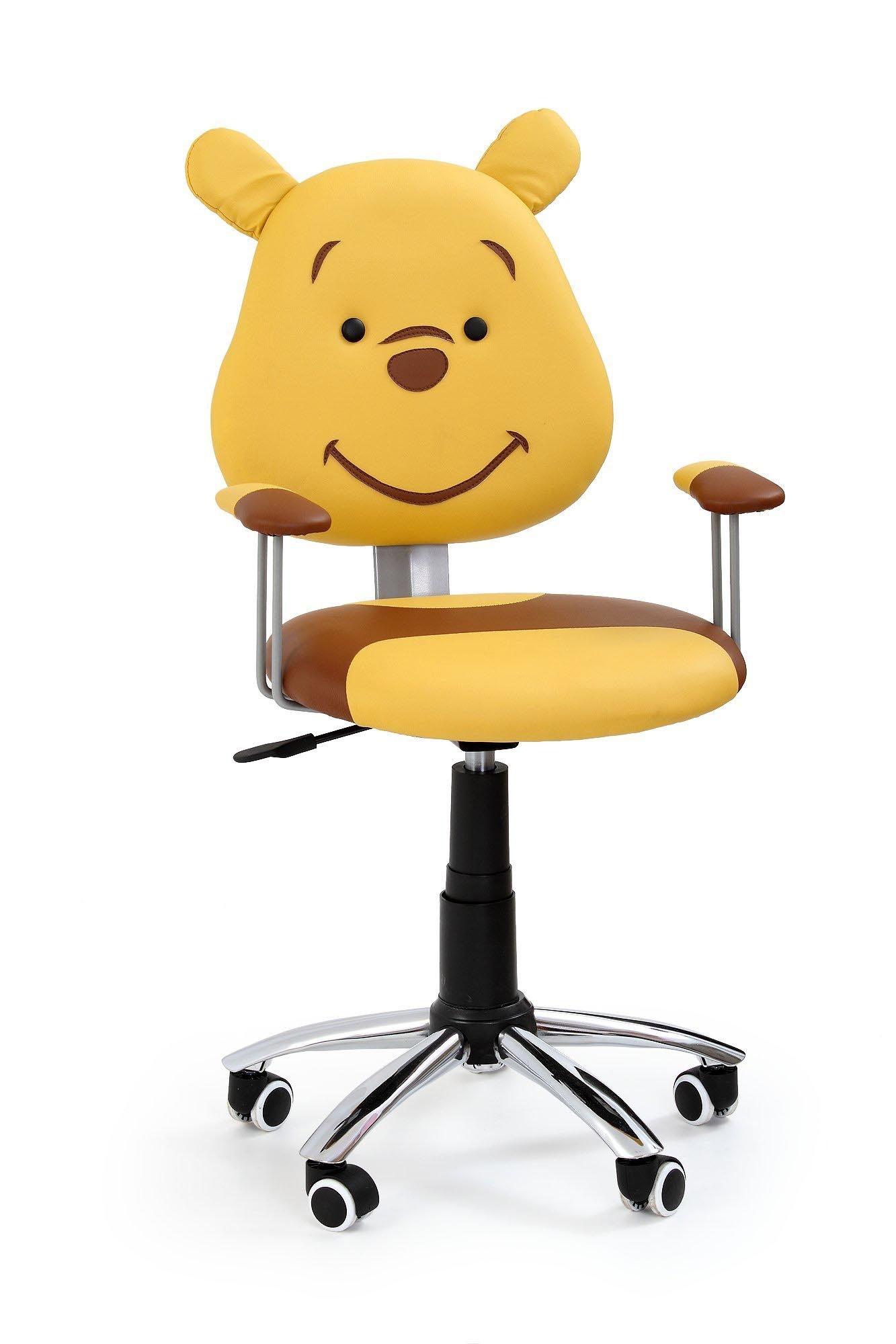 Scaun de birou pentru copii, tapitat cu piele ecologica Kubus Maro / Galben, l44xA50xH82-92 cm imagine
