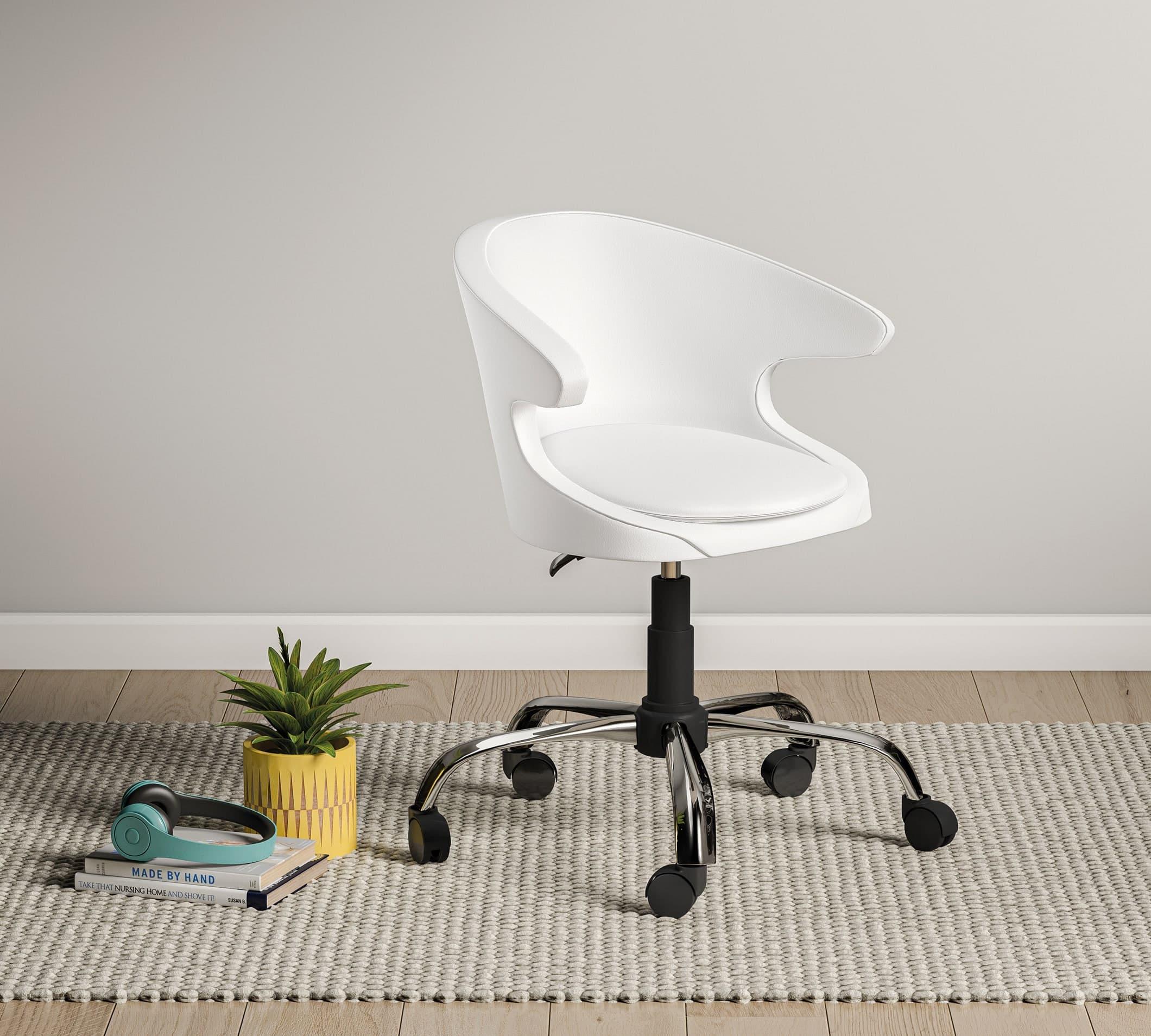Scaun de birou pentru copii, tapitat cu piele ecologica Pearl Alb, l61xA61xH86 cm poza