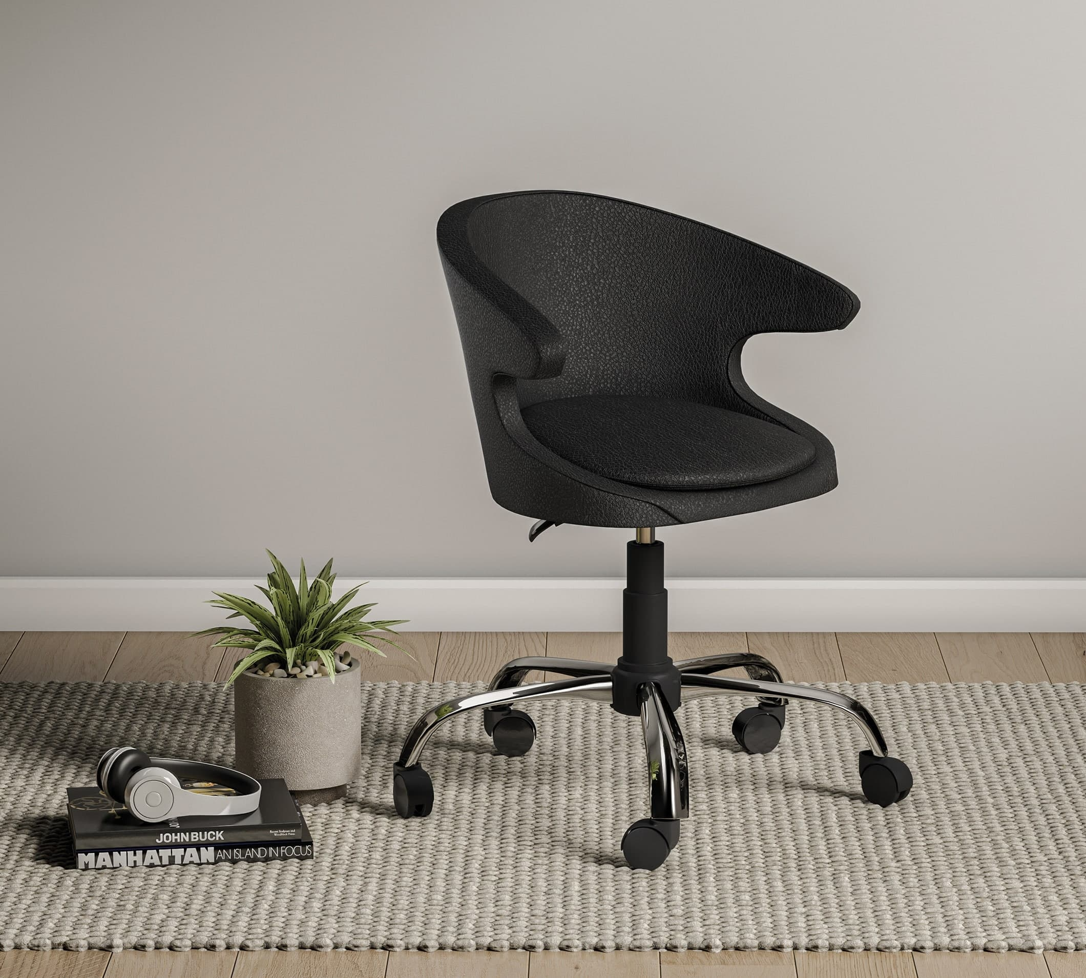 Scaun de birou pentru copii, tapitat cu piele ecologica Pearl Negru, l61xA61xH86 cm imagine