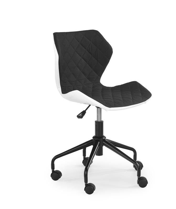 Scaun de birou pentru copii, tapitat cu piele ecologica si stofa Matrix Black, l48xA53xH78-88 cm somproduct.ro