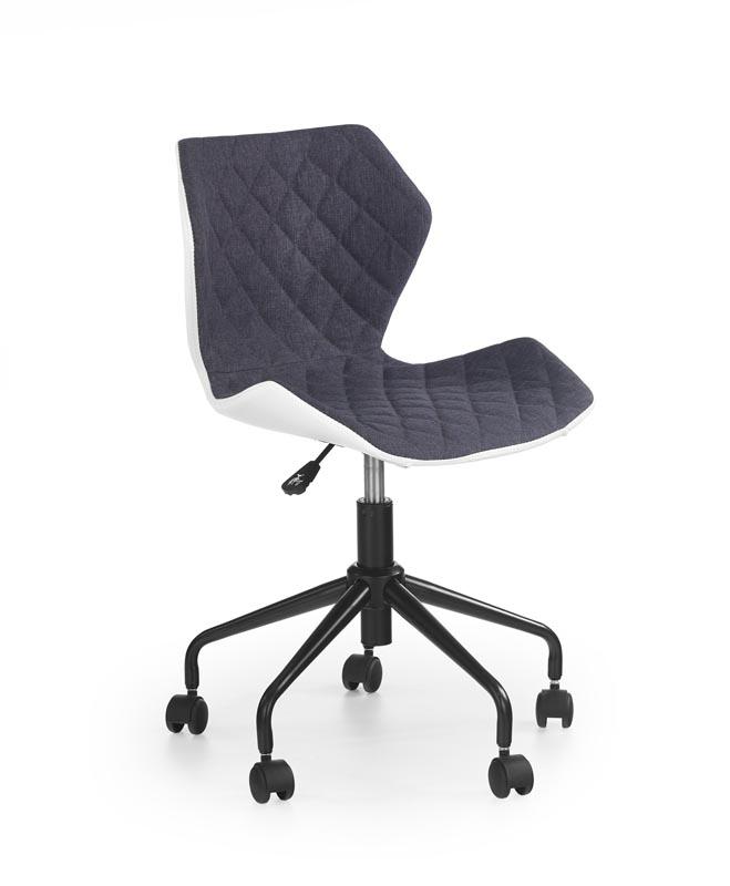 Scaun de birou pentru copii, tapitat cu piele ecologica si stofa Matrix Grey, l48xA53xH78-88 cm poza