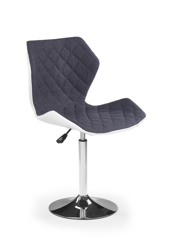 Scaun de birou pentru copii, tapitat cu piele ecologica si stofa Matrix II Grey / White, l48xA53xH92-104 cm imagine