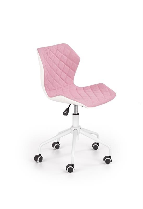 Scaun de birou pentru copii, tapitat cu piele ecologica si stofa Matrix III Roz deschis / Alb, l48xA57xH79-88 cm imagine