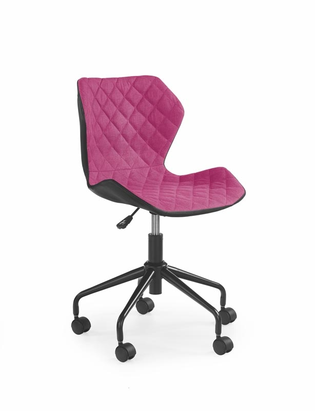 Scaun de birou pentru copii, tapitat cu piele ecologica si stofa Matrix Pink, l48xA53xH78-88 cm somproduct.ro