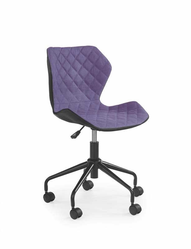 Scaun de birou pentru copii, tapitat cu piele ecologica si stofa Matrix Purple, l48xA53xH78-88 cm imagine