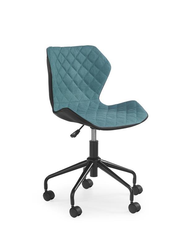 Scaun de birou pentru copii, tapitat cu piele ecologica si stofa Matrix Turquoise, l48xA53xH78-88 cm somproduct.ro
