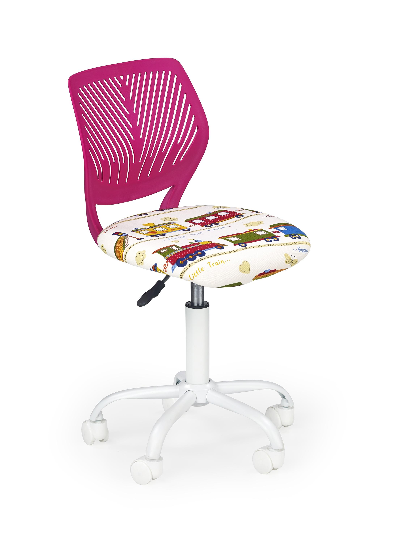 Scaun de birou pentru copii tapitat cu stofa Binta Roz l40xA43xH75-87 cm
