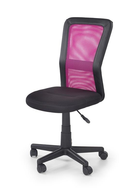 Scaun de birou pentru copii, tapitat cu stofa si piele ecologica Cosmo Pink / Black, l42xA56xH88-98 cm somproduct.ro