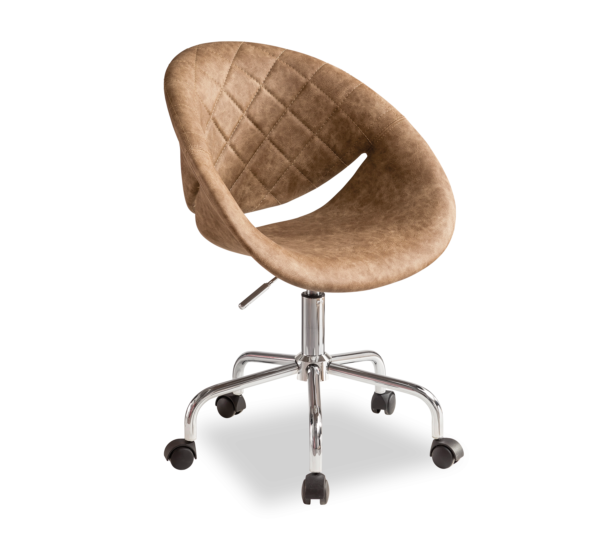 Scaun de birou tapitat cu piele ecologica, Relax Brown, l61xA54xH88-95 cm imagine