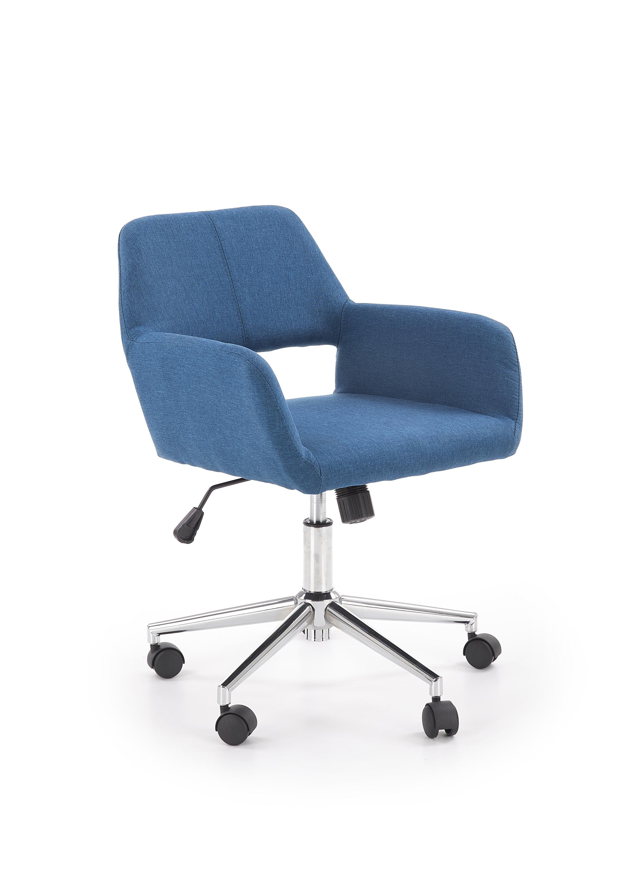 Scaun de birou tapitat cu stofa Morel Albastru, l55xA56xH75-84 cm poza