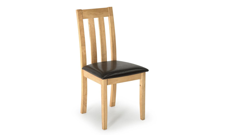 Scaun din lemn de cauciuc cu sezut tapitat cu piele ecologica Annecy Oak / Brown l46xA43xH91 cm