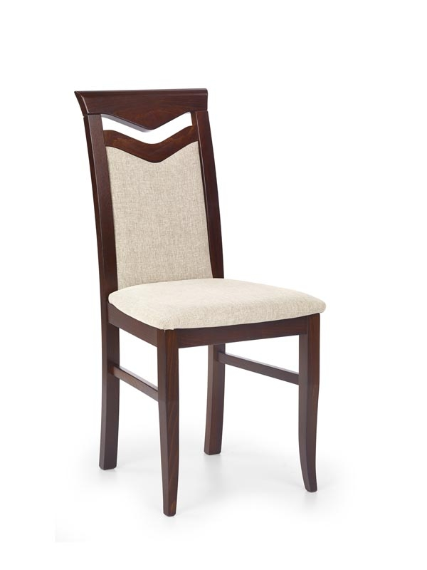 Scaun din lemn de fag, tapitat cu stofa Citrone Nuc Inchis, l44xA53xH96 cm imagine