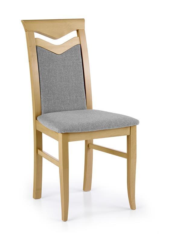 Scaun din lemn de fag, tapitat cu stofa Citrone Gri / Stejar, l44xA52,5xH96 cm somproduct.ro