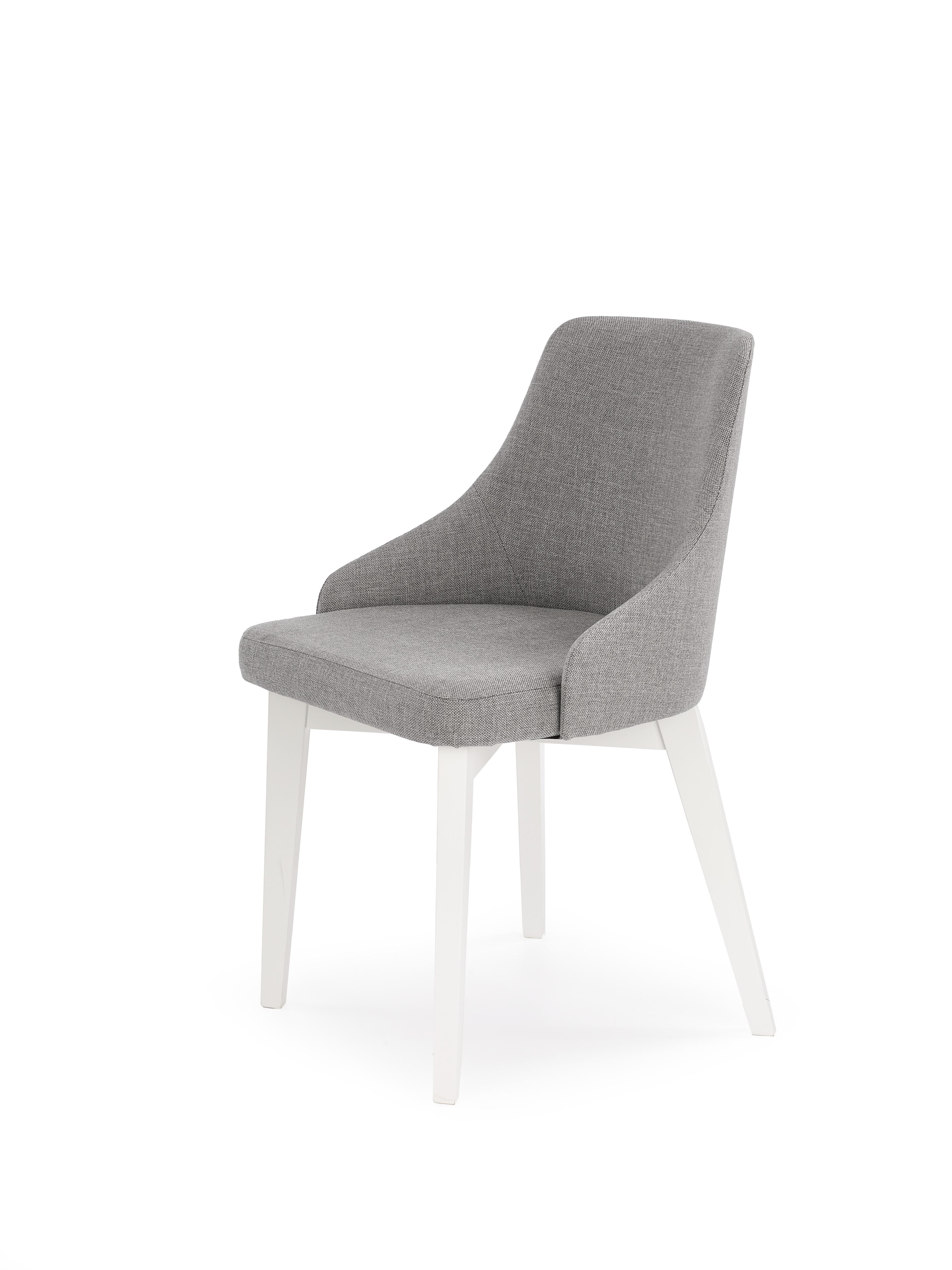 Scaun tapitat cu stofa, cu picioare din lemn de fag Toledo Grey / White, l51xA55xH82 cm poza