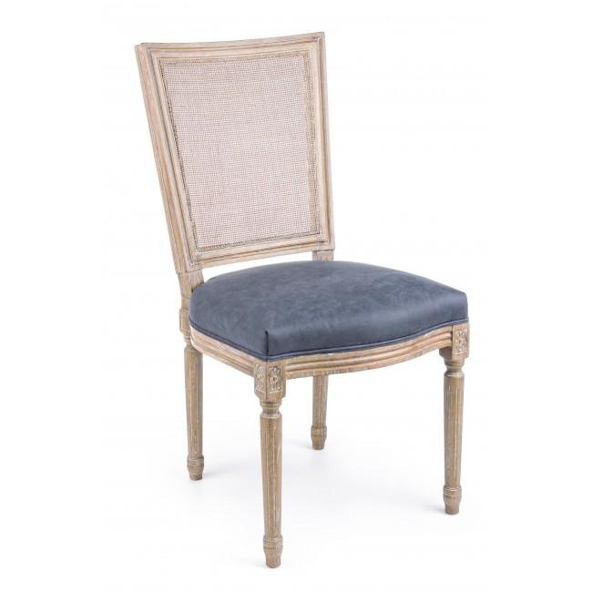 Scaun din lemn de frasin, cu sezut tapitat cu stofa Liliane Bleumarin, l48xA65xH96 cm