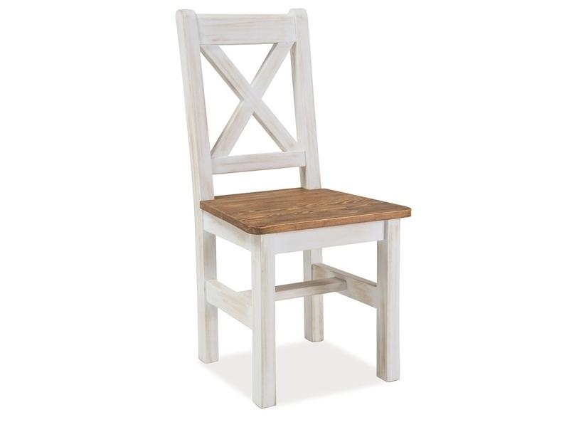 Scaun din lemn de pin Poprad Alb / Natural, l45xA46xH96 cm imagine