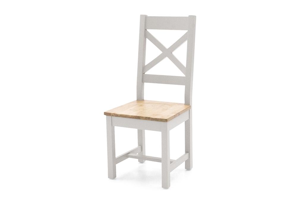 Scaun din lemn de pin si MDF Ferndale Cross Grey / Oak l45xA50xH102 cm