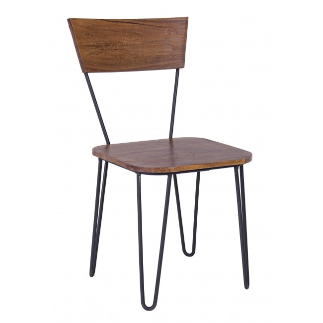 Scaun din lemn de salcam, cu picioare metalice Edgar Natural / Negru, l45xA41xH84 cm