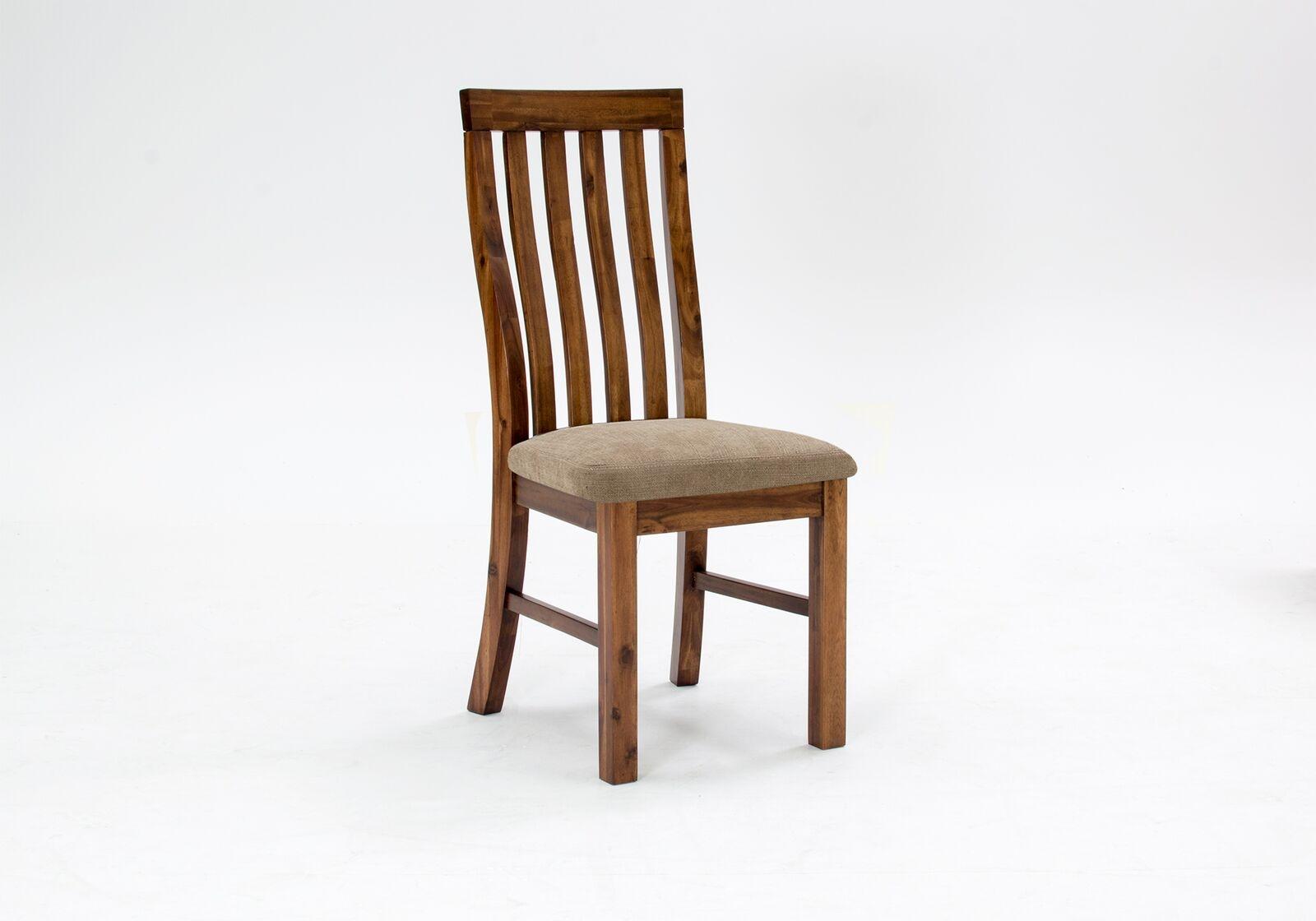 Scaun din lemn de salcam cu sezut tapitat cu stofa Emerson Brown l42xA50xH104 cm