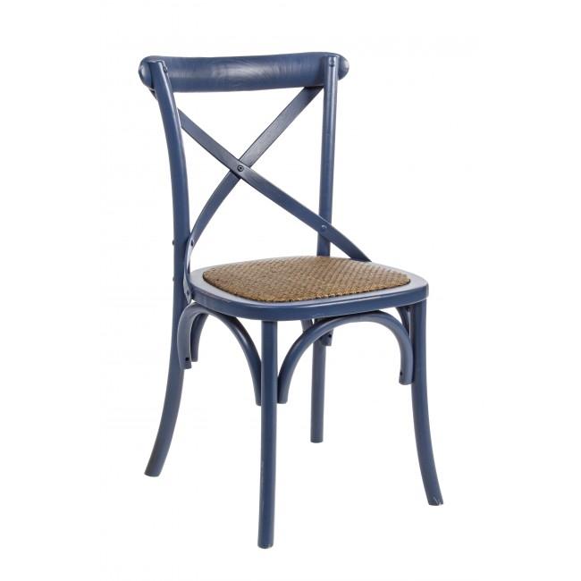 Scaun din lemn de ulm, cu sezut din ratan Cross Albastru, l46xA42xH87 cm