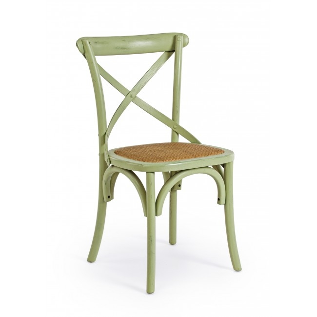 Scaun din lemn de ulm, cu sezut din ratan Cross Verde, l46xA42xH87 cm