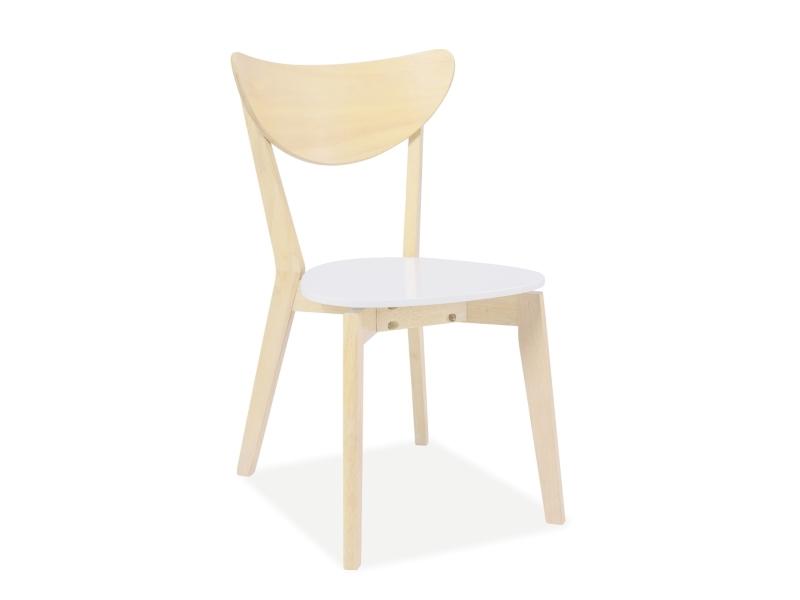 Scaun din lemn si MDF CD-19 White / Light Oak, l43xA40xH76 cm