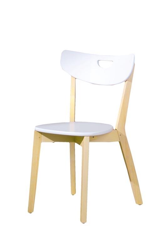 Scaun din lemn si MDF Peppi, l46xA55xH80 cm-Alb
