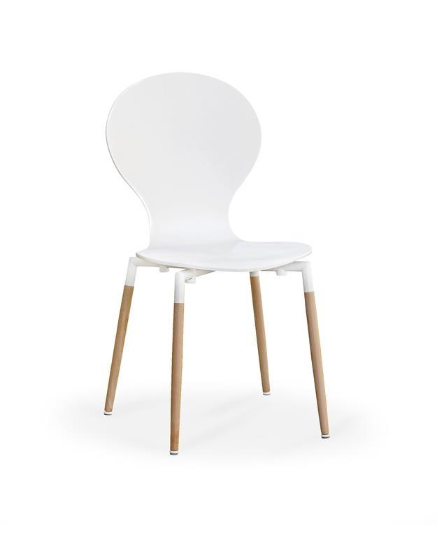 Scaun din lemn si pal K164 White / Beech, l44xA49xH87 cm