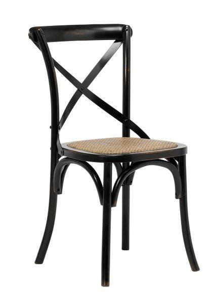 Scaun din lemn si ratan Vintage Negru, l51xA45xH88 cm
