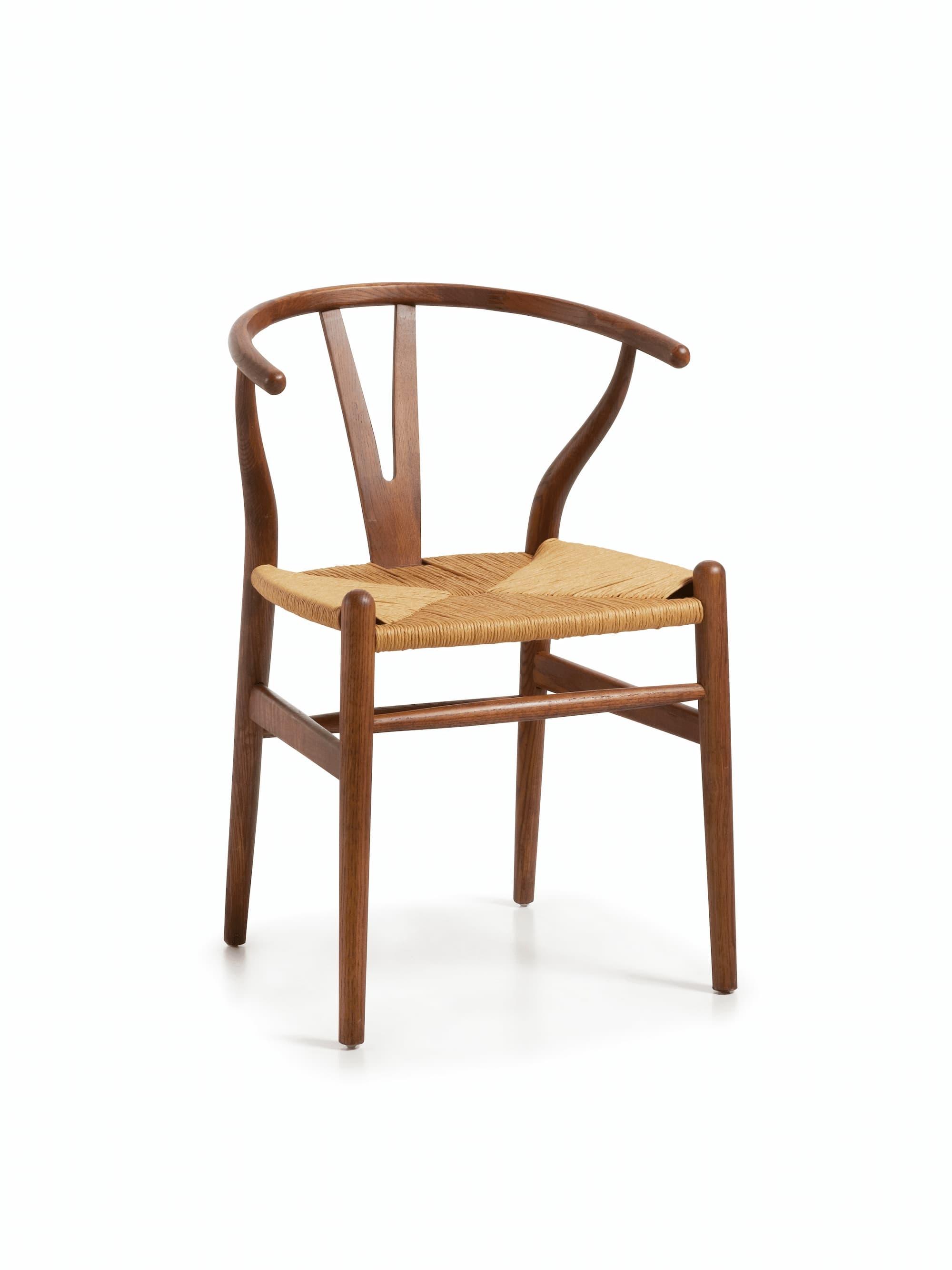 Scaun din lemn si sezut din ratan, Nimes Stejar, l57xA42xH78 cm somproduct.ro