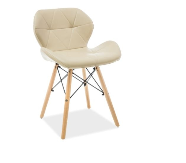 Scaun din lemn, tapitat cu piele ecologica Matias Cappuccino / Beech, l49xA37xH72 cm imagine