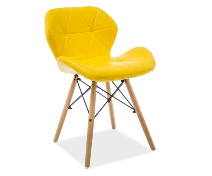 Scaun din lemn tapitat cu piele ecologica Matias Yellow / Beech l49xA37xH72 cm