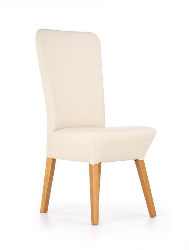 Scaun din lemn tapitat cu piele ecologica Orchid Light Beige / Honey Oak, l44xA58xH100 cm somproduct.ro