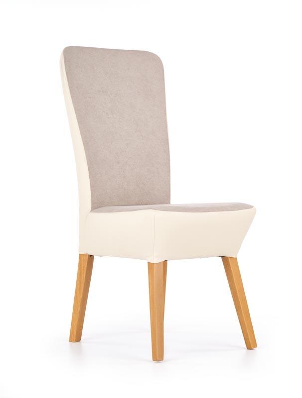 Scaun din lemn tapitat cu piele ecologica si stofa Orchid II Light Beige / Honey Oak, l44xA58xH100 cm somproduct.ro imagine 2021