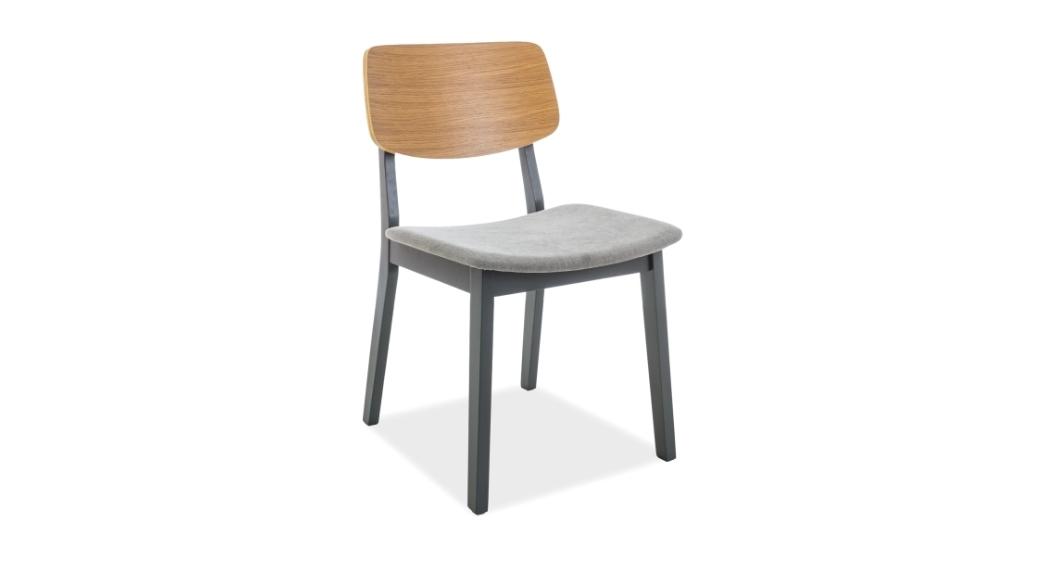 Scaun din lemn, tapitat cu stofa Benito Oak / Graphite, l45xA41xH78 cm
